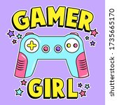 gamer girl  game control with... | Shutterstock .eps vector #1735665170