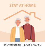 stay home. old man and woman... | Shutterstock .eps vector #1735676750