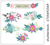 set of vignettes of plants.... | Shutterstock .eps vector #1735692569