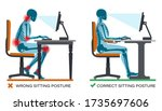 correct and wrong sitting... | Shutterstock .eps vector #1735697606