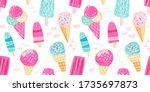 ice cream pattern with pink and ... | Shutterstock . vector #1735697873
