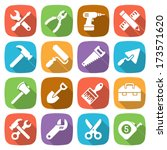 trendy flat working tools icons.... | Shutterstock .eps vector #173571620