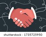 negotiation shaking hands... | Shutterstock .eps vector #1735725950