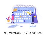 people planning schedule and... | Shutterstock .eps vector #1735731860