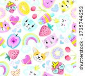seamless pattern with hearts ... | Shutterstock .eps vector #1735744253