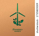 renewable energy papercut... | Shutterstock .eps vector #1735805009