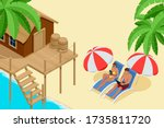 isometric summer vacation... | Shutterstock .eps vector #1735811720
