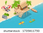 isometric summer vacation... | Shutterstock .eps vector #1735811750