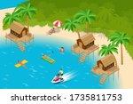isometric summer vacation... | Shutterstock .eps vector #1735811753