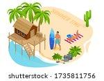 isometric summer vacation... | Shutterstock .eps vector #1735811756
