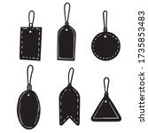 hand drawn set of sale tags and ... | Shutterstock .eps vector #1735853483