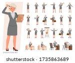 set of old businesswoman... | Shutterstock .eps vector #1735863689