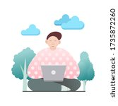 sitting young man with laptop... | Shutterstock .eps vector #1735872260