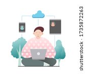 sitting young man with laptop... | Shutterstock .eps vector #1735872263