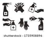 disinfection. hand hygiene. set ... | Shutterstock .eps vector #1735908896