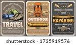 travel  rafting  trekking and... | Shutterstock .eps vector #1735919576