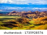 Mountain hill valley landscape view. Mountain hill valley view. Mountain hills landscape - stock photo