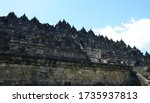 Magelang, Central Java, Indonesia - March 2019. The courtyard of one of the biggest temples in the world, and one of the wonders of the world is the Borobudur Temple