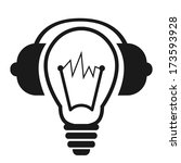 Black logo of light bulb with headphones.