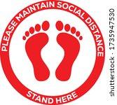 social distance floor graphics...   Shutterstock .eps vector #1735947530