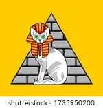 sphinx cat and egyptian pyramid.... | Shutterstock .eps vector #1735950200