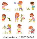 little kids holding magnifying... | Shutterstock .eps vector #1735956863