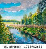 Oil Painting   River Blue Water ...