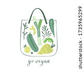 eco shopping bag with summer... | Shutterstock .eps vector #1735965299