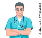 portrait of a caucasian male... | Shutterstock .eps vector #1735967870