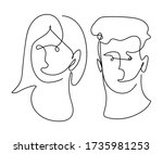 one line art man and woman face ... | Shutterstock .eps vector #1735981253