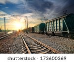 Freight Train Wagons At The...