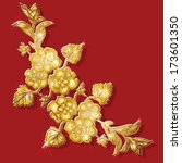gold en  floral ornament on red ... | Shutterstock . vector #173601350