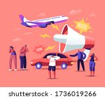 noise pollution concept. tiny... | Shutterstock .eps vector #1736019266