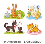 vector set with mom and baby... | Shutterstock .eps vector #1736026820