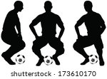 isolated poses of soccer... | Shutterstock .eps vector #173610170