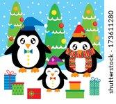 penguin christmas family | Shutterstock .eps vector #173611280