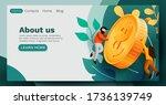 people flying around golden...   Shutterstock .eps vector #1736139749