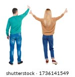 back view of couple in sweater... | Shutterstock . vector #1736141549