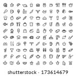 vector food icons set | Shutterstock .eps vector #173614679