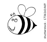 stylized bee in a doodle style. ... | Shutterstock .eps vector #1736161469