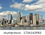 Seattle panorama on a summer sunny day. Down town of Washington state capital. - stock photo