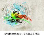 abstract image with graffiti on ... | Shutterstock . vector #173616758