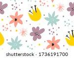 cute pattern in small flower.... | Shutterstock .eps vector #1736191700
