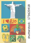 brazilian cultural icons on... | Shutterstock .eps vector #173620418
