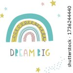 dream big. inspirational poster ... | Shutterstock .eps vector #1736244440