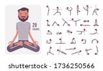 young sporty yogi man... | Shutterstock .eps vector #1736250566