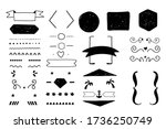 doodle decoration set for quote ... | Shutterstock .eps vector #1736250749