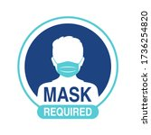 mask required warning... | Shutterstock .eps vector #1736254820