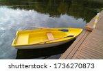 Yellow pleasure boat in the...
