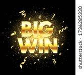 big win golden text with... | Shutterstock .eps vector #1736285330
